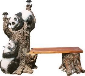 Скамейка Дерево с пандами F07027 - фото 4981