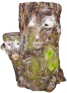 Пень кашпо с мордочками (ламинат) F 04058