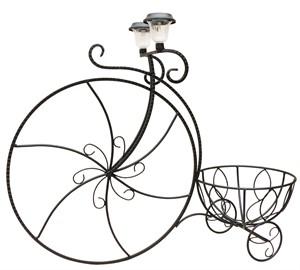 Садовая подставка велосипед с фонарями