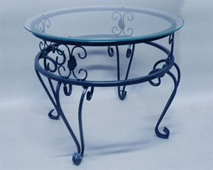 Стол столовый кованый стеклянный